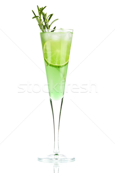 Mint Champagne alcohol cocktail with lime slice and rosemary Stock photo © karandaev