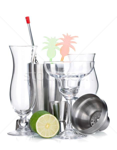 Cocktail shaker, glasses, utensils and lime Stock photo © karandaev
