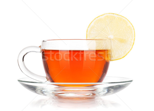 Glass cup of black tea with lemon slice Stock photo © karandaev