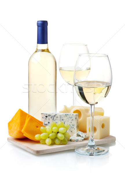 White wine, cheese and grapes Stock photo © karandaev