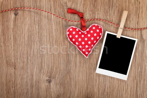 Foto stock: Foto · vermelho · coração · enforcamento