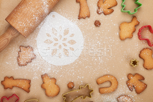 Rolling pin and gingerbread cookies Stock photo © karandaev