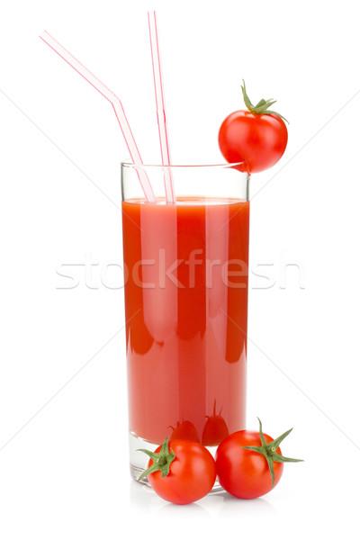 томатный сок стекла два помидоры черри изолированный белый Сток-фото © karandaev