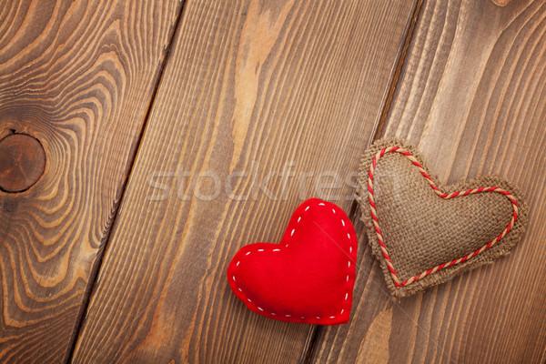 ручной работы игрушку сердцах деревянный стол древесины Сток-фото © karandaev