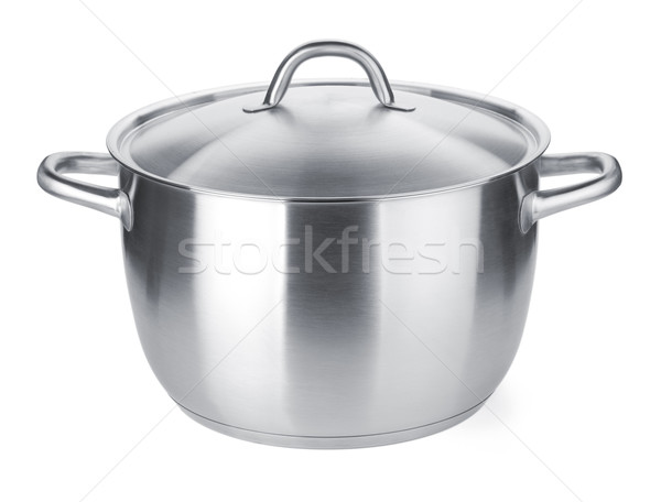 Roestvrij staal pot geïsoleerd witte voedsel home Stockfoto © karandaev