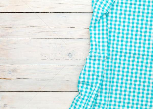 Mavi havlu ahşap mutfak masası bo Stok fotoğraf © karandaev