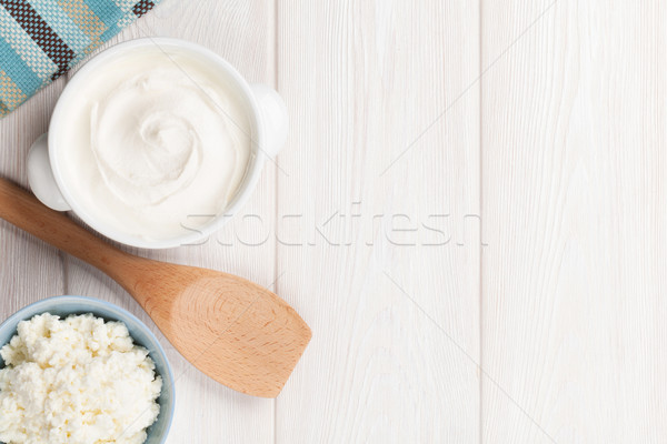 Sour cream and curd Stock photo © karandaev