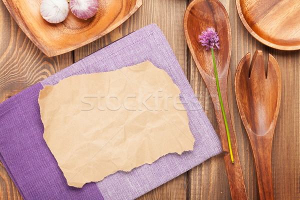 Wood kitchen utensils over wooden table Stock photo © karandaev
