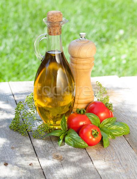 оливкового масла бутылку перец шейкер базилик зрелый Сток-фото © karandaev