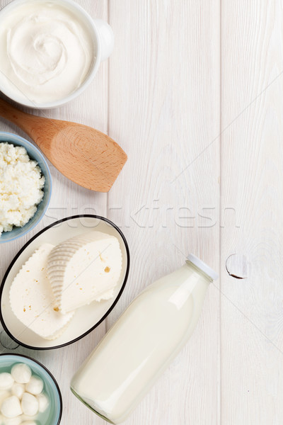 サワークリーム ミルク チーズ ヨーグルト 乳製品 木製のテーブル ストックフォト © karandaev