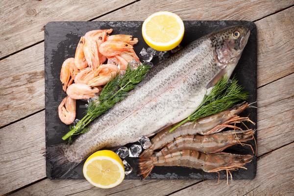 Taze deniz gıda baharatlar taş Stok fotoğraf © karandaev