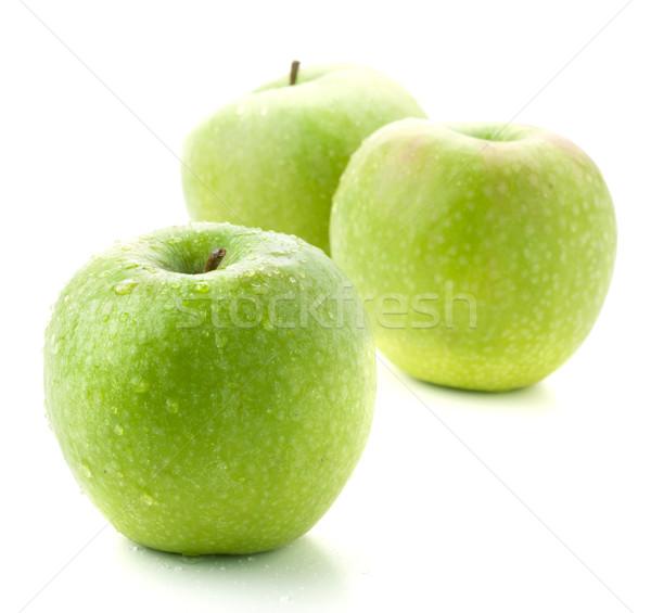 Trzy dojrzały zielone jabłka mały Zdjęcia stock © karandaev