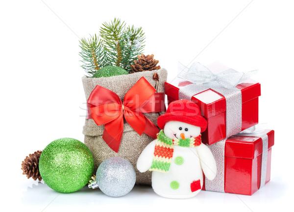 Сток-фото: Рождества · снеговик · игрушку · изолированный