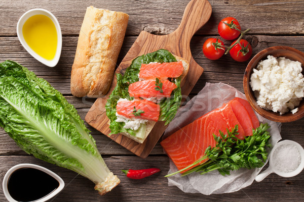 Sandwich with salmon and romaine salad Stock photo © karandaev