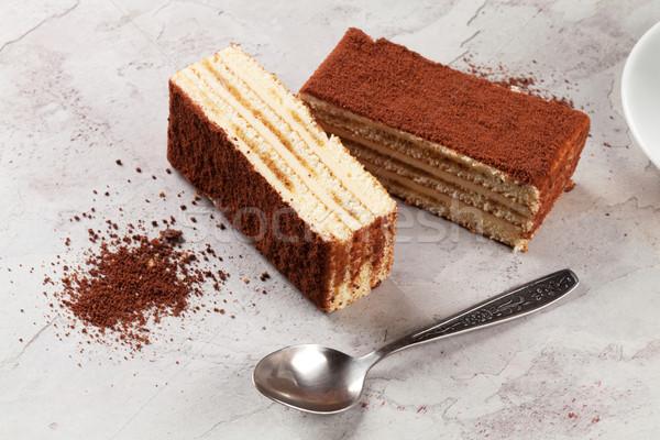 Tiramisu dessert steen tabel voedsel koffie Stockfoto © karandaev