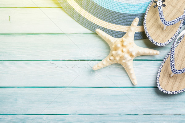 Beach accessories on wooden background Stock photo © karandaev