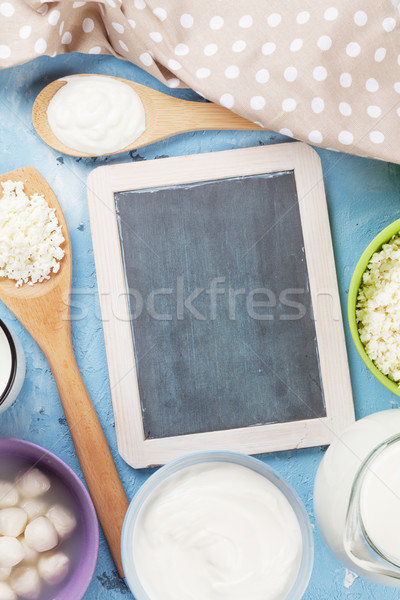 Dairy products on stone table Stock photo © karandaev
