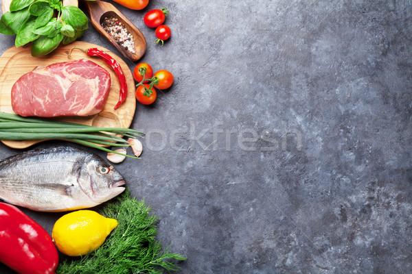 Vegetables, fish, meat and ingredients cooking Stock photo © karandaev