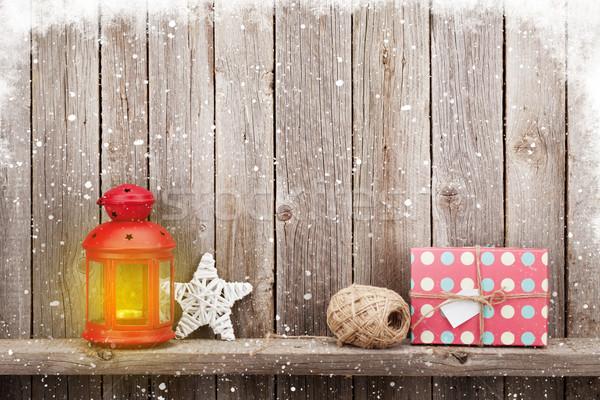 Natale candela lanterna regalo legno Foto d'archivio © karandaev
