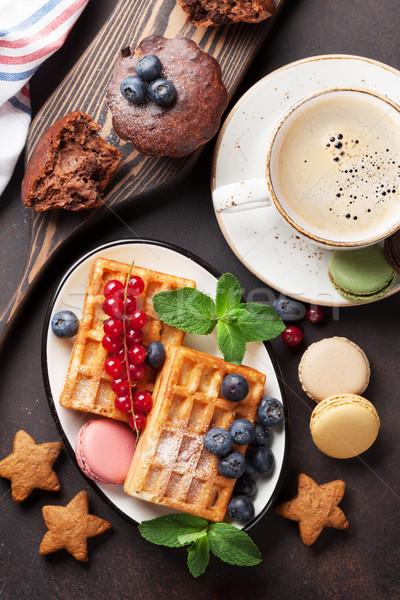 Zdjęcia stock: Kawy · słodycze · górę · widoku · żywności · czekolady
