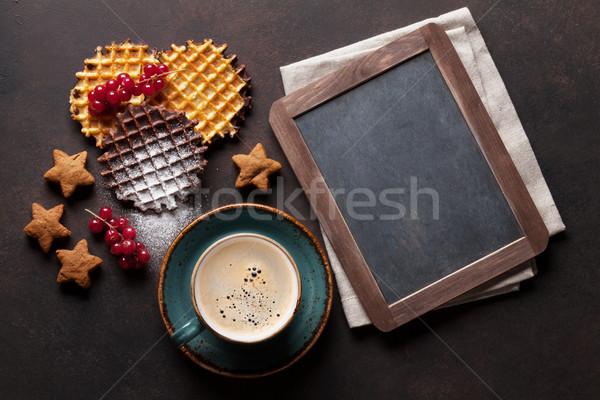 Caffè dolci frutti di bosco top view lavagna Foto d'archivio © karandaev