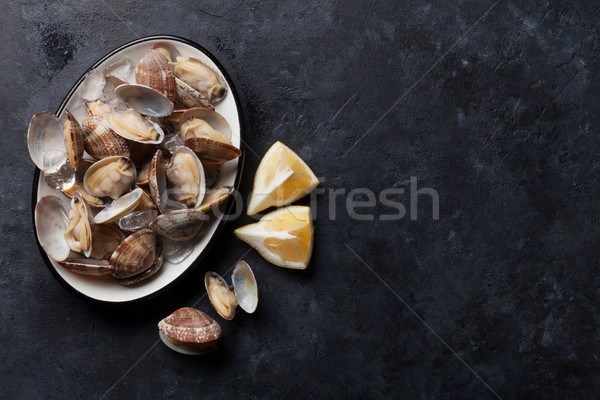 Fresh seafood. Scallops Stock photo © karandaev