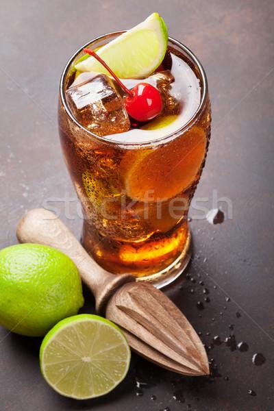 Cocktail verre pierre table bar boire Photo stock © karandaev
