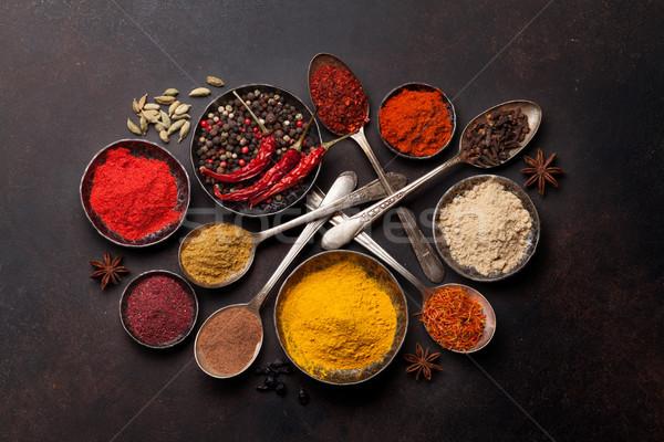 Stockfoto: Specerijen · kruiden · steen · tabel · top