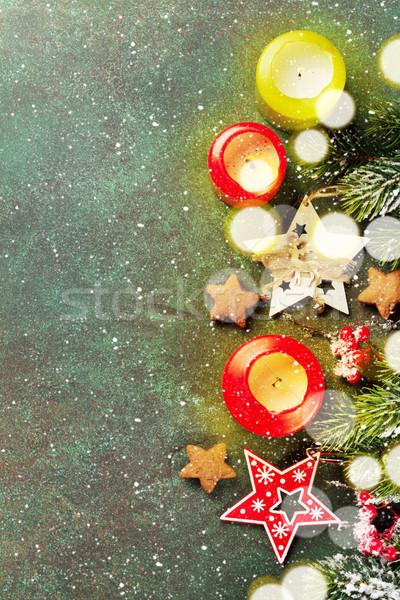 Karácsony üdvözlőlap karácsony hó fenyőfa dekoráció Stock fotó © karandaev