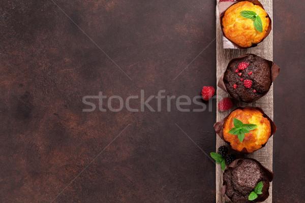 Muffins bessen top ruimte achtergrond Stockfoto © karandaev