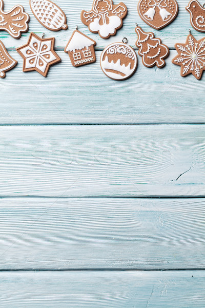 Christmas peperkoek cookies houten top Stockfoto © karandaev