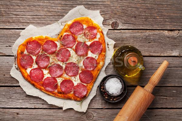 中心 ピザ ペパロニ バレンタインデー ストックフォト © karandaev