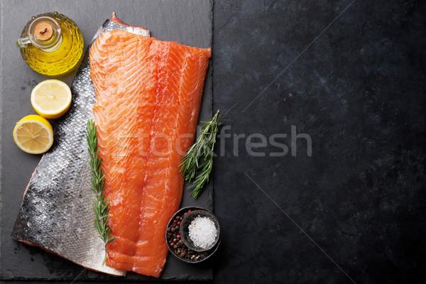 Ruw zalm vis filet specerijen koken Stockfoto © karandaev