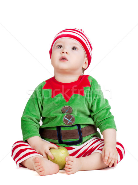 Small baby in santa suit Stock photo © karandaev