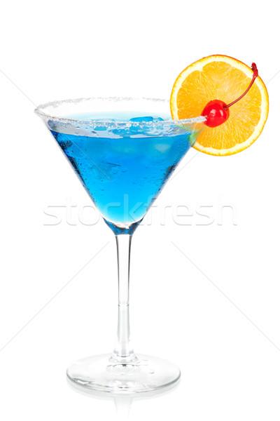Cocktail collection - Blue martini with orange and maraschino Stock photo © karandaev