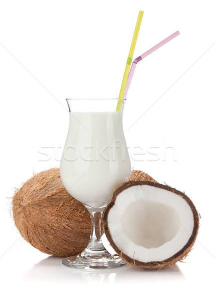 Coconut cream cocktail and coconuts Stock photo © karandaev
