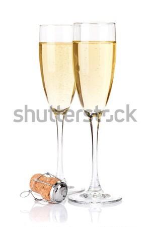 Stok fotoğraf: şampanya · gözlük · yay · yalıtılmış · beyaz