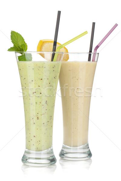 Kiwi and banana milk smoothie Stock photo © karandaev