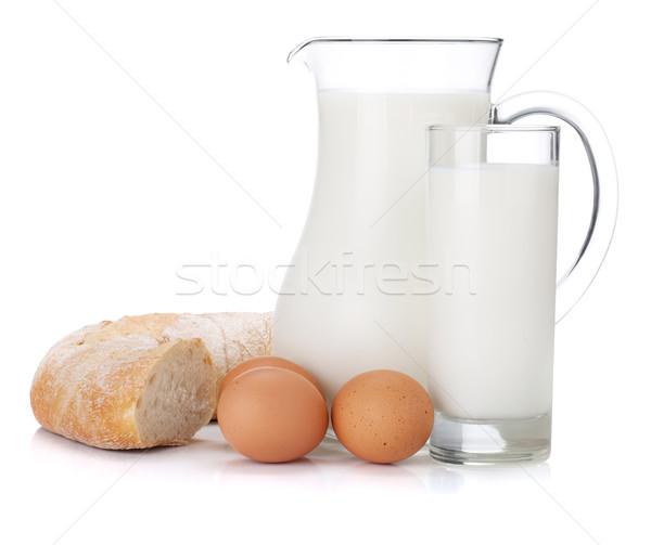Cam yumurta ekmek yalıtılmış beyaz Stok fotoğraf © karandaev