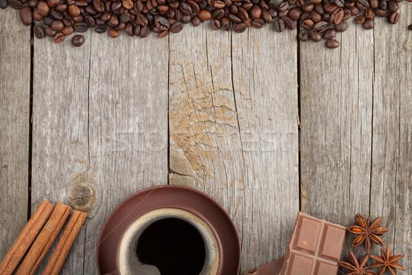 Сток-фото: чашку · кофе · специи · шоколадом · деревянный · стол · текстуры · копия · пространства