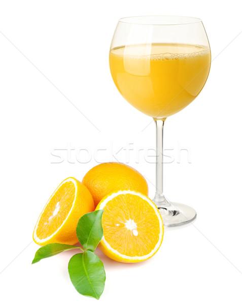 Jugo de naranja naranjas aislado blanco vidrio verano Foto stock © karandaev