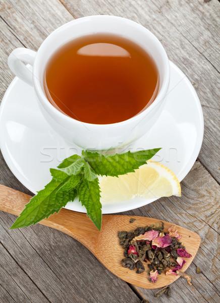 Green tea with lemon and mint  Stock photo © karandaev