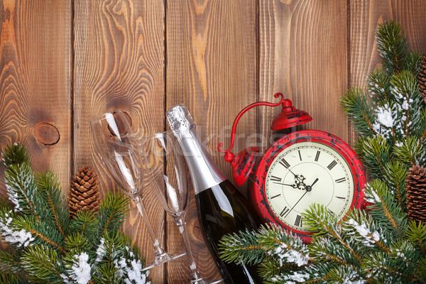 Stok fotoğraf: Noel · ahşap · saat · şampanya · kar