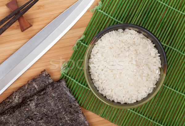 японская еда Ингредиенты бамбук таблице китайский Сток-фото © karandaev