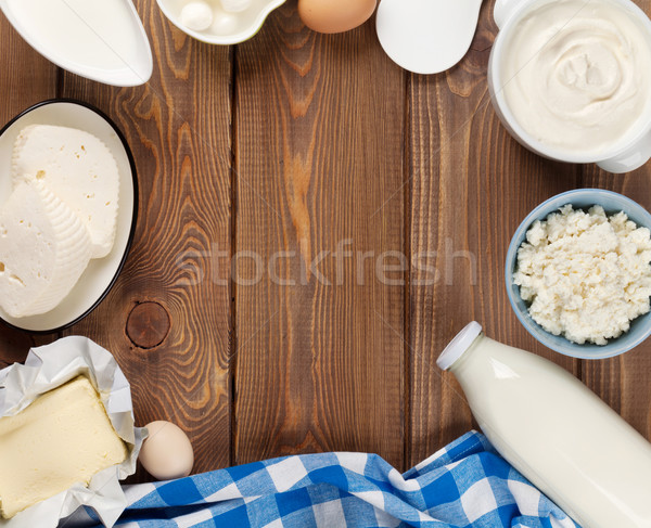 Crema agria leche queso huevos yogurt mantequilla Foto stock © karandaev
