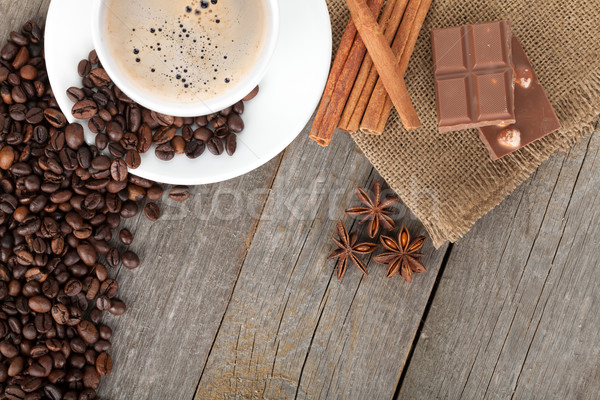 Coffee cup and spices on wooden table texture Stock photo © karandaev