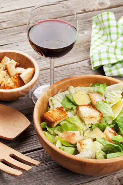 Stock photo: Fresh salad and red wine