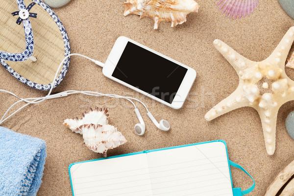 Bloco de notas mar areia starfish conchas Foto stock © karandaev