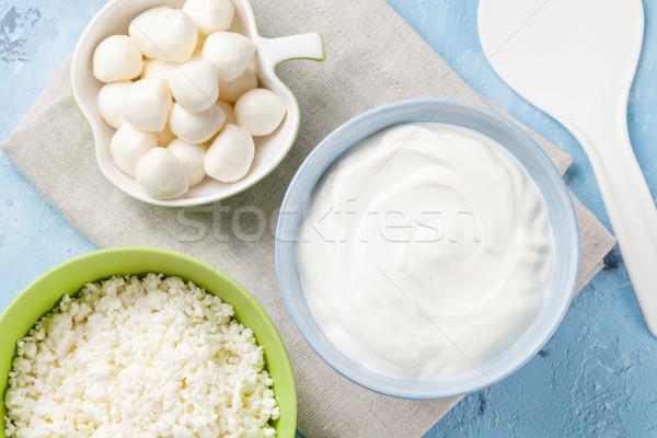乳製品 石 表 サワークリーム チーズ ストックフォト © karandaev