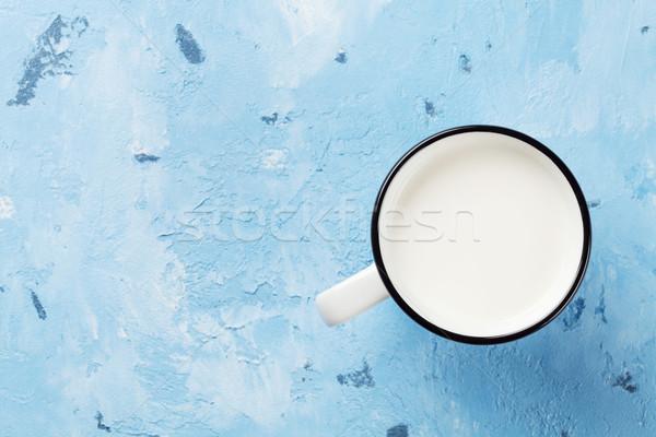Melk beker steen tabel top Stockfoto © karandaev